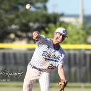 Bluestem Lion #20 Blake Bevan throws a pitch bottom of the second inning. The Bluestem Lions defeated the Ellis Railroaders 8 to 5 in the KSHSAA Class 2-1A State Baseball Championship game at Great Bend Sports Complex in Great Bend, Kansas on May 26, 2017. (Photo: Joey Bahr, www.joeybahr.com)
