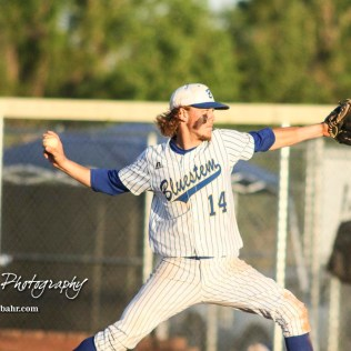 Bluestem Lion #14 Jacob Lanier throws a pitch in the bottom of the seventh inning. The Bluestem Lions defeated the Ellis Railroaders 8 to 5 in the KSHSAA Class 2-1A State Baseball Championship game at Great Bend Sports Complex in Great Bend, Kansas on May 26, 2017. (Photo: Joey Bahr, www.joeybahr.com)