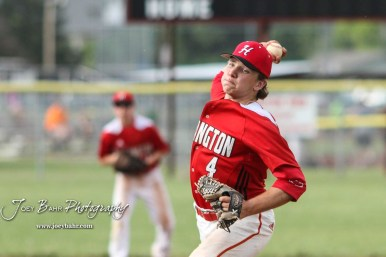 Hoisington Cardinal #4 Jeremy Breit throws a pitch in the top of the first inning. The Pratt Greenbacks defeated the Hoisington Cardinals 12 to 0 at Bicentennial Park in Hoisington, Kansas on May 9, 2017. (Photo: Joey Bahr, www.joeybahr.com)