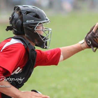 Hoisington Cardinal #5 Myles Menges waits for the pitch to arrive in the top of the second inning. The Pratt Greenbacks defeated the Hoisington Cardinals 12 to 0 at Bicentennial Park in Hoisington, Kansas on May 9, 2017. (Photo: Joey Bahr, www.joeybahr.com)