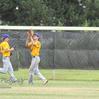 Hutchinson Colt Brody Smith (#1) lines up the ball to catch a fly out in the bottom of the second inning. The McPherson American Legion Post 24 AAA Seniors defeated the Hutchinson American Legion Post 68 AAA Colts 6 to 4 to advance to the AAA Zone 8 Championship at the Great Bend Sports Complex in Great Bend, Kansas on July 15, 2017. (Photo: Joey Bahr, www.joeybahr.com)