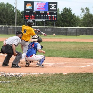 Hutchinson Colt Trey Riggs (#8) swings at a pitch in the top of the fourth inning. The McPherson American Legion Post 24 AAA Seniors defeated the Hutchinson American Legion Post 68 AAA Colts 6 to 4 to advance to the AAA Zone 8 Championship at the Great Bend Sports Complex in Great Bend, Kansas on July 15, 2017. (Photo: Joey Bahr, www.joeybahr.com)