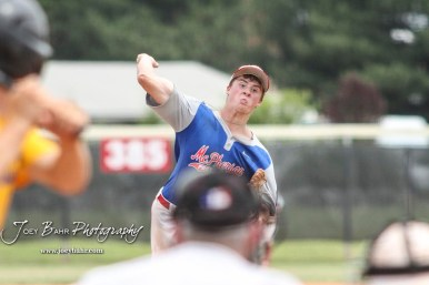 McPherson Senior Jack Reifschneider (#18) throws a pitch in the top of the seventh inning. The McPherson American Legion Post 24 AAA Seniors defeated the Hutchinson American Legion Post 68 AAA Colts 6 to 4 to advance to the AAA Zone 8 Championship at the Great Bend Sports Complex in Great Bend, Kansas on July 15, 2017. (Photo: Joey Bahr, www.joeybahr.com)