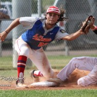Great Bend Chief Konner Ireland (#11) slides into third base before McPherson Senior Alex Kalkhorst (#22) can tag him in the bottom of the first inning. The Great Bend American Legion Post 180 AAA Chiefs defeated the McPherson American Legion Post 24 AAA Seniors 9 to 8 to win the AAA Zone 8 Championship at the Great Bend Sports Complex in Great Bend, Kansas on July 15, 2017. (Photo: Joey Bahr, www.joeybahr.com)