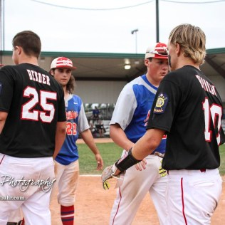 Members of the McPherson Seniors and Great Bend Chiefs shake hand following the game. The Great Bend American Legion Post 180 AAA Chiefs defeated the McPherson American Legion Post 24 AAA Seniors 9 to 8 to win the AAA Zone 8 Championship at the Great Bend Sports Complex in Great Bend, Kansas on July 15, 2017. (Photo: Joey Bahr, www.joeybahr.com)