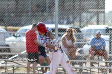 Liberal Bee Jay Jaron Robinson (#5) swings at a pitch in the top of the first inning. The Great Bend Batcats won the second game of the series with the Liberal Bee Jays 8 to 3 at Al Burns Memorial Field in Great Bend, Kansas on July 8, 2017. (Photo: Joey Bahr, www.joeybahr.com)