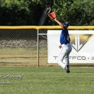 Great Bend Batcat Corrigan Bartlett (#14) lines up a fly ball deep in right field in the top of the first inning. The Great Bend Batcats won the second game of the series with the Liberal Bee Jays 8 to 3 at Al Burns Memorial Field in Great Bend, Kansas on July 8, 2017. (Photo: Joey Bahr, www.joeybahr.com)