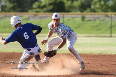 Liberal Bee Jay Jaron Robinson (#5) looks for the ball as Great Bend Batcat Benjamin Sems (#6) starts to slide into second base. The Great Bend Batcats won the second game of the series with the Liberal Bee Jays 8 to 3 at Al Burns Memorial Field in Great Bend, Kansas on July 8, 2017. (Photo: Joey Bahr, www.joeybahr.com)
