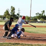 Liberal Bee Jay Kyle Schmidt (#37) hits a home run in the top of the third inning. The Great Bend Batcats won the second game of the series with the Liberal Bee Jays 8 to 3 at Al Burns Memorial Field in Great Bend, Kansas on July 8, 2017. (Photo: Joey Bahr, www.joeybahr.com)