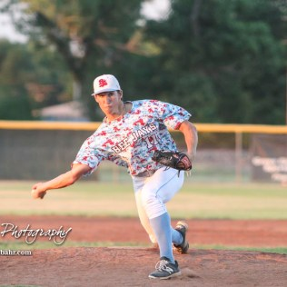 Liberal Bee Jay Tyler Tognarine (#11) throws a pitch in the bottom of the sixth inning. The Great Bend Batcats won the second game of the series with the Liberal Bee Jays 8 to 3 at Al Burns Memorial Field in Great Bend, Kansas on July 8, 2017. (Photo: Joey Bahr, www.joeybahr.com)
