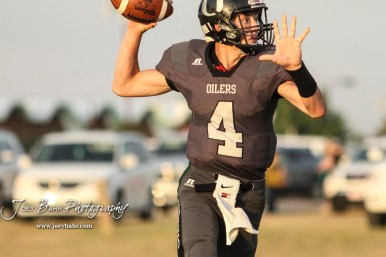 Central Plains Oiler #4 Myles Menges winds up to throws a pass in the first quarter. The Central Plains Oilers defeated the Otis-Bison Cougars by a score of 36 to 12 at Central Plains High School in Claflin, Kansas on September 15, 2017. (Photo: Joey Bahr, www.joeybahr.com)