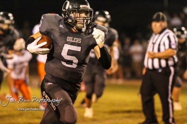 Central Plains Oiler #5 Alex Hickel rushes with the ball in the third quarter. The Central Plains Oilers defeated the Otis-Bison Cougars by a score of 36 to 12 at Central Plains High School in Claflin, Kansas on September 15, 2017. (Photo: Joey Bahr, www.joeybahr.com)