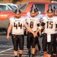 Smoky Valley Vikings Riley Odell (#44) and Brett Heitschmidt (#15) lead their team out to the field. The Larned Indians defeated the Smoky Valley Vikings by a score of 28 to 14 at Earl Roberts Stadium in Larned, Kansas on September 8, 2017. (Photo: Joey Bahr, www.joeybahr.com)