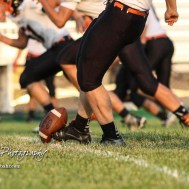 Smoky Valley Viking Raleigh Wilson (#32) kicks the ball to start the game. The Larned Indians defeated the Smoky Valley Vikings by a score of 28 to 14 at Earl Roberts Stadium in Larned, Kansas on September 8, 2017. (Photo: Joey Bahr, www.joeybahr.com)