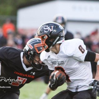 Larned Indian Mason Perez (#9) closes in on Smoky Valley Viking Tim Lambert (#8) in the second quarter. The Larned Indians defeated the Smoky Valley Vikings by a score of 28 to 14 at Earl Roberts Stadium in Larned, Kansas on September 8, 2017. (Photo: Joey Bahr, www.joeybahr.com)