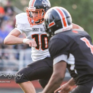 Smoky Valley Viking Cort Elliott (#10) rushes with the ball as Larned Indian Anthony Mcconnell (#1) tries to close in in the second quarter. The Larned Indians defeated the Smoky Valley Vikings by a score of 28 to 14 at Earl Roberts Stadium in Larned, Kansas on September 8, 2017. (Photo: Joey Bahr, www.joeybahr.com)