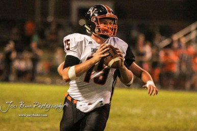 Smoky Valley Viking Brett Heitschmidt (#15) looks for an open receiver to throws a pass to in the third quarter. The Larned Indians defeated the Smoky Valley Vikings by a score of 28 to 14 at Earl Roberts Stadium in Larned, Kansas on September 8, 2017. (Photo: Joey Bahr, www.joeybahr.com)