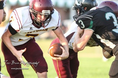 Victoria Knight #7 Cooper Windholz calls his own number and rushes with the ball in the third quarter. The Victoria Knights defeated the Central Plains Oilers by a score of 34 to 8 at Central Plains High School in Claflin, Kansas on September 2, 2017. (Photo: Joey Bahr, www.joeybahr.com)