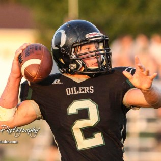 Central Plains Oiler #2 Dalton Beck throws a halfback pass in the fourth quarter. The Victoria Knights defeated the Central Plains Oilers by a score of 34 to 8 at Central Plains High School in Claflin, Kansas on September 2, 2017. (Photo: Joey Bahr, www.joeybahr.com)