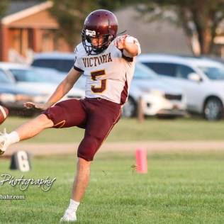 Victoria Knight #5 Collin Kisner punts the ball in the fourth quarter. The Victoria Knights defeated the Central Plains Oilers by a score of 34 to 8 at Central Plains High School in Claflin, Kansas on September 2, 2017. (Photo: Joey Bahr, www.joeybahr.com)