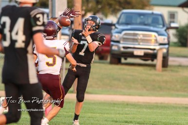 Central Plains Oiler #7 Devin Ryan prepares to catch the ball for the Oilers lone score in the fourth quarter. The Victoria Knights defeated the Central Plains Oilers by a score of 34 to 8 at Central Plains High School in Claflin, Kansas on September 2, 2017. (Photo: Joey Bahr, www.joeybahr.com)