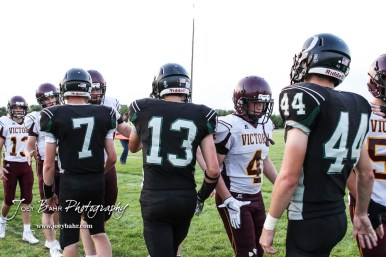 Members of the Victoria Knights and Central Plains Oilers shake hands following the game. The Victoria Knights defeated the Central Plains Oilers by a score of 34 to 8 at Central Plains High School in Claflin, Kansas on September 2, 2017. (Photo: Joey Bahr, www.joeybahr.com)