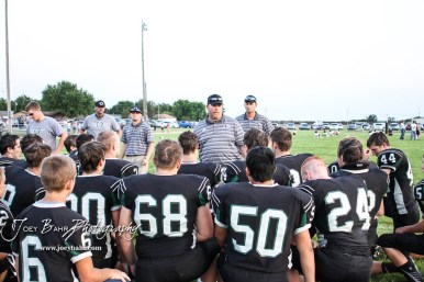 Central Plains Oiler Head Coach Chris Steiner talks to his players following the game. The Victoria Knights defeated the Central Plains Oilers by a score of 34 to 8 at Central Plains High School in Claflin, Kansas on September 2, 2017. (Photo: Joey Bahr, www.joeybahr.com)