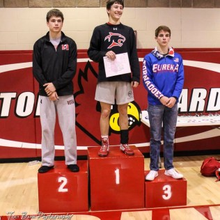 The 132 pound weight class finishers: First Place George Weber of Great Bend, Second Place Jonny Crome of Marysville, Third Place Dominick Bailey of Eureka. The 2017 Cardinal Corner Classic Wrestling Tournament was held at Hoisington Activity Center in Hoisington, Kansas on December 15, 2017. (Photo: Joey Bahr, www.joeybahr.com)