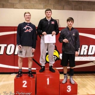 The 145 pound weight class finishers: First Place Gabe Capp of Marysville, Second Place Alex Randolph of Great Bend, Third Place Hunter Fitzpatrick of Larned. The 2017 Cardinal Corner Classic Wrestling Tournament was held at Hoisington Activity Center in Hoisington, Kansas on December 15, 2017. (Photo: Joey Bahr, www.joeybahr.com)