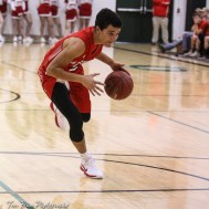 Hoisington Cardinal #22 Chase Robinson drives down the lane. The Central Plains Oilers defeated Hoisington Cardinals by a score of 68 to 24 in a basketball game held at Central Plains High School in Claflin, Kansas on December 1, 2017. (Photo: Joey Bahr, www.joeybahr.com)
