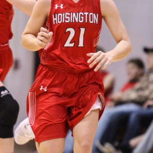 Hoisington Lady Cardinal #21 Suzanna Schneider runs down the court to get ahead of the ball. The Central Plains Lady Oilers defeated Hoisington Lady Cardinals by a score of 88 to 23 in a basketball game held at Central Plains High School in Claflin, Kansas on December 1, 2017. (Photo: Joey Bahr, www.joeybahr.com)