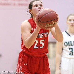 Hoisington Lady Cardinal #25 Maleigha Schmidt shoots a free throw attempt. The Central Plains Lady Oilers defeated Hoisington Lady Cardinals by a score of 88 to 23 in a basketball game held at Central Plains High School in Claflin, Kansas on December 1, 2017. (Photo: Joey Bahr, www.joeybahr.com)