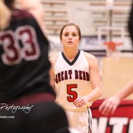Great Bend Lady Panther #5 Camryn Dunekack looks for a teammate to passes the ball to. The Great Bend Lady Panthers defeated the Buhler Lady Crusaders by a score of 52 to 38 the Great Bend High School Field House in Great Bend, Kansas on January 12, 2018. (Photo: Joey Bahr, www.joeybahr.com)