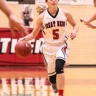 Great Bend Lady Panther #5 Camryn Dunekack drives with the ball. The Great Bend Lady Panthers defeated the Buhler Lady Crusaders by a score of 52 to 38 the Great Bend High School Field House in Great Bend, Kansas on January 12, 2018. (Photo: Joey Bahr, www.joeybahr.com)