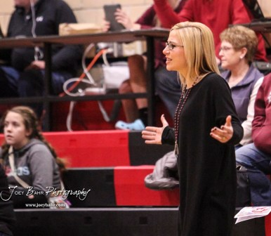 Buhler Lady Crusader Head Coach Brittany Warner reacts to a non-call by the officials. The Great Bend Lady Panthers defeated the Buhler Lady Crusaders by a score of 52 to 38 the Great Bend High School Field House in Great Bend, Kansas on January 12, 2018. (Photo: Joey Bahr, www.joeybahr.com)