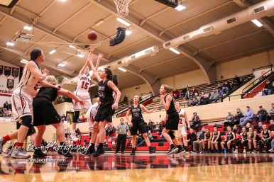 Great Bend Lady Panther #15 Annie Mills takes a jump shot over the Buhler Lady Crusader defense. The Great Bend Lady Panthers defeated the Buhler Lady Crusaders by a score of 52 to 38 the Great Bend High School Field House in Great Bend, Kansas on January 12, 2018. (Photo: Joey Bahr, www.joeybahr.com)