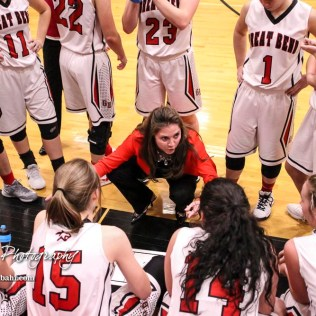 Great Bend Lady Panther Head Coach Carrie Minton talks to her players during a timeout. The Great Bend Lady Panthers defeated the Buhler Lady Crusaders by a score of 52 to 38 the Great Bend High School Field House in Great Bend, Kansas on January 12, 2018. (Photo: Joey Bahr, www.joeybahr.com)