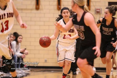 Great Bend Lady Panther #14 Kaylee Unruh brings the ball down the court. The Great Bend Lady Panthers defeated the Buhler Lady Crusaders by a score of 52 to 38 the Great Bend High School Field House in Great Bend, Kansas on January 12, 2018. (Photo: Joey Bahr, www.joeybahr.com)