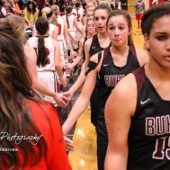 Members of the Buhler Lady Crusaders and Great Bend Lady Panthers shake hands following the game. The Great Bend Lady Panthers defeated the Buhler Lady Crusaders by a score of 52 to 38 the Great Bend High School Field House in Great Bend, Kansas on January 12, 2018. (Photo: Joey Bahr, www.joeybahr.com)