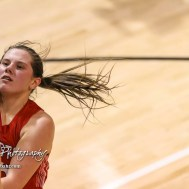 Hoisington Lady Cardinal #25 Maleigha Schmidt shoots a layup. The Hoisington Lady Cardinals defeated the Ellinwood Lady Eagles by a score of 46 to 19 in the Consolation Semi-Final of the 2018 Hoisington Winter Jam at the Hoisington Activity Center in Hoisington, Kansas on January 18, 2018. (Photo: Joey Bahr, www.joeybahr.com)