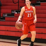 Hoisington Lady Cardinal #25 Maleigha Schmidt brings the ball down the side of the court. The LaCrosse Lady Leopards defeated the Hoisington Lady Cardinals by a score of 32 to 27 in the First Round of the 2018 Hoisington Winter Jam at the Hoisington Activity Center in Hoisington, Kansas on January 16, 2018. (Photo: Joey Bahr, www.joeybahr.com)
