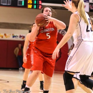 Hoisington Lady Cardinal #5 Jocelynn Pedigo shoots a jump shot from near the free throw line. The LaCrosse Lady Leopards defeated the Hoisington Lady Cardinals by a score of 32 to 27 in the First Round of the 2018 Hoisington Winter Jam at the Hoisington Activity Center in Hoisington, Kansas on January 16, 2018. (Photo: Joey Bahr, www.joeybahr.com)