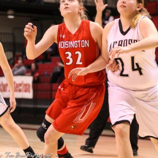 Hoisington Lady Cardinal #32 Kelsi Dalton and LaCrosse Lady Leopard #24 McKylie Lari battle for position during a free throw attempt. The LaCrosse Lady Leopards defeated the Hoisington Lady Cardinals by a score of 32 to 27 in the First Round of the 2018 Hoisington Winter Jam at the Hoisington Activity Center in Hoisington, Kansas on January 16, 2018. (Photo: Joey Bahr, www.joeybahr.com)