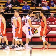 Members of the Otis-Bison Cougars and Ellsworth Bearcats shake hands following the game. The Ellsworth Bearcats defeated the Otis-Bison Cougars by a score of 58 to 37 in the Third Place game of the 2018 Hoisington Winter Jam at the Hoisington Activity Center in Hoisington, Kansas on January 20, 2018. (Photo: Joey Bahr, www.joeybahr.com)