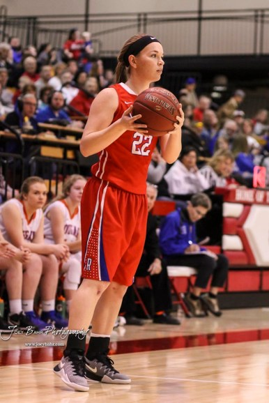 Russell Lady Bronco #22 Samantha Leiker looks for an open teammate. The Russell Lady Broncos defeated the Otis-Bison Lady Cougars by a score of 54 to 34 in the Girls Championship game of the 2018 Hoisington Winter Jam at the Hoisington Activity Center in Hoisington, Kansas on January 20, 2018. (Photo: Joey Bahr, www.joeybahr.com)