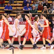 Members of the Otis-Bison Lady Cougars and Russell Lady Broncos shake hands following the game. The Russell Lady Broncos defeated the Otis-Bison Lady Cougars by a score of 54 to 34 in the Girls Championship game of the 2018 Hoisington Winter Jam at the Hoisington Activity Center in Hoisington, Kansas on January 20, 2018. (Photo: Joey Bahr, www.joeybahr.com)