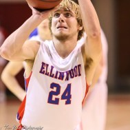Ellinwood Eagle #24 Blake Garmam shoots a free throw attempt. The Russell Broncos defeated the Ellinwood Eagles by a score of 60 to 17 in the Consolation Semi-Final of the 2018 Hoisington Winter Jam at the Hoisington Activity Center in Hoisington, Kansas on January 18, 2018. (Photo: Joey Bahr, www.joeybahr.com)