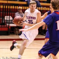 Ellinwood Eagle #35 Nathan Monday drives to the basket. The Russell Broncos defeated the Ellinwood Eagles by a score of 60 to 17 in the Consolation Semi-Final of the 2018 Hoisington Winter Jam at the Hoisington Activity Center in Hoisington, Kansas on January 18, 2018. (Photo: Joey Bahr, www.joeybahr.com)