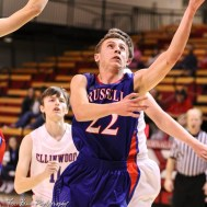 Russell Bronco #22 Garrett Ewers lays up the ball. The Russell Broncos defeated the Ellinwood Eagles by a score of 60 to 17 in the Consolation Semi-Final of the 2018 Hoisington Winter Jam at the Hoisington Activity Center in Hoisington, Kansas on January 18, 2018. (Photo: Joey Bahr, www.joeybahr.com)