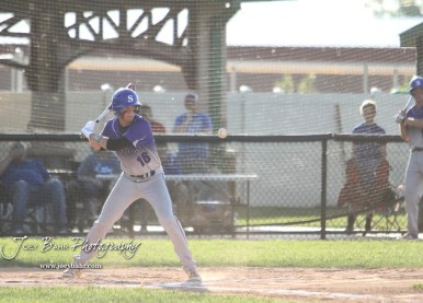 Spearville Royal Lancer #16 Alex Fisher watches a pitch approach in the bottom of the first inning. The Spearville Royal Lancers defeated the Bluestem Lions 5 to 1 in the KSHSAA Class 2-1A State Baseball Quarterfinal at the Great Bend Sports Complex in Great Bend, Kansas on May 24, 2018. (Photo: Joey Bahr, www.joeybahr.com)